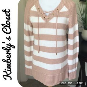 💕CALVIN KLEIN💕 Lace Up Sweater